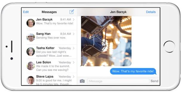 iPhone 6 Plus landscape messages