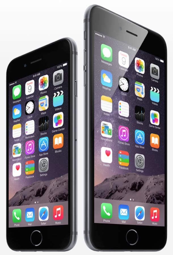 iPhone 6 iPhone 6 Plus side by side-