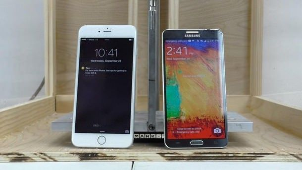 Лабораторный тест на устойчивость к деформации iPhone 6 Plus, iPhone 5 и Galaxy Note 3