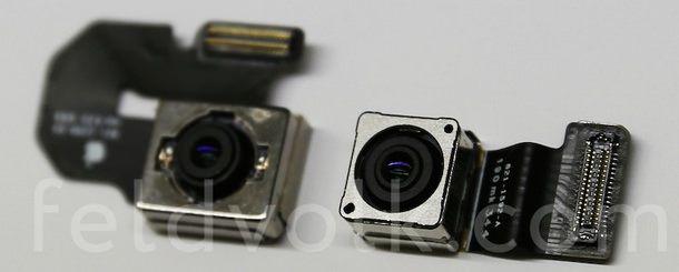 Камеры 5,5-дюймового iPhone 6 (слева) и iPhone 5s (справа)