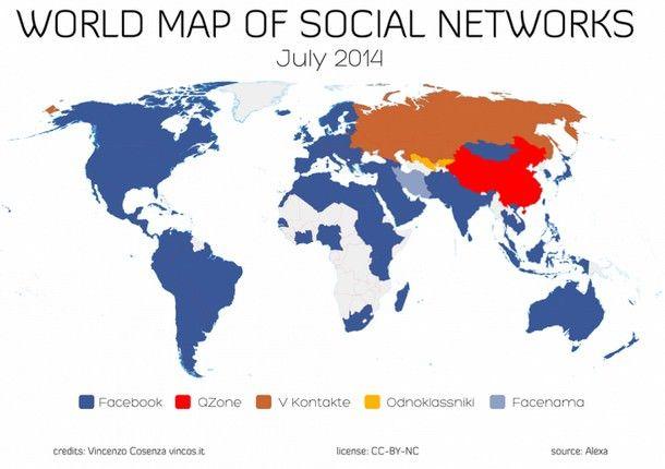 Карта использования социальных сетей