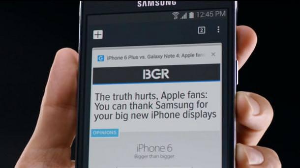 Новая реклама Samsung Galaxy Note 4 высмеивает iPhone 6 Plus от Apple