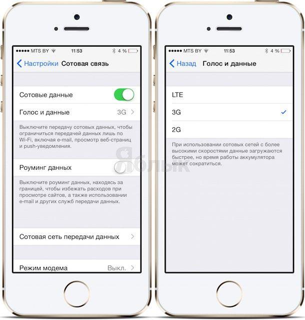 Как включить 2G, 3G или LTE на iPhone