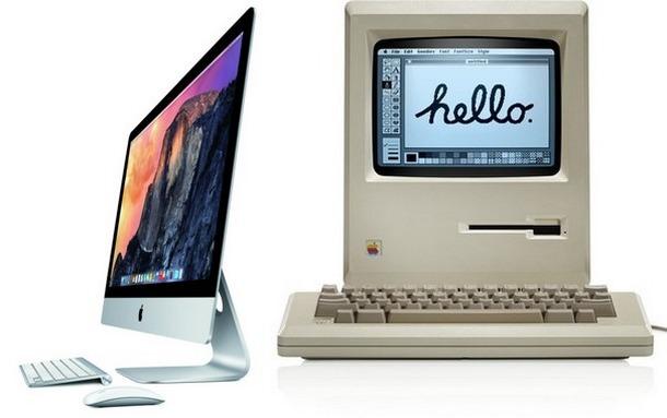 Mac 1984 года и iMac Retina 2014