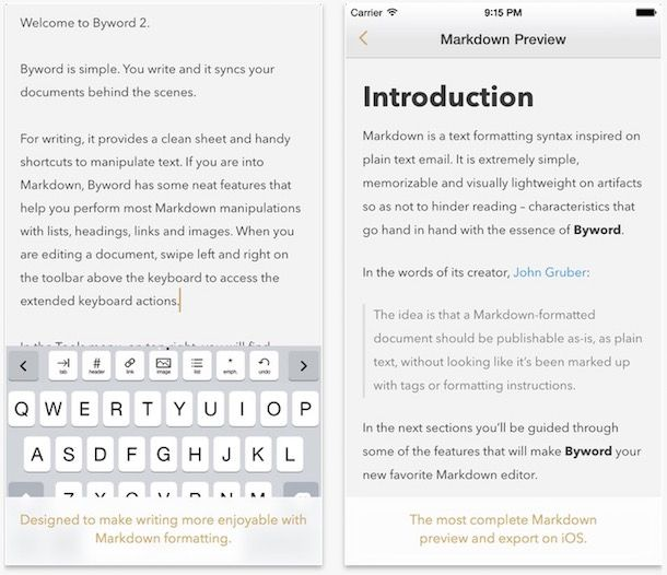 Byword for writers ios