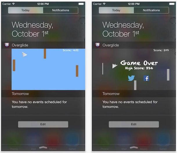 Overglide - виджет игра для iPhone и ipad