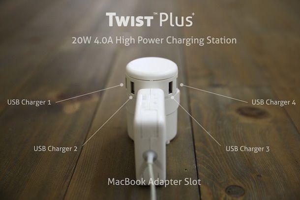 Twist – универсальный адаптер питания для MacBook с 4-мя USB-портами