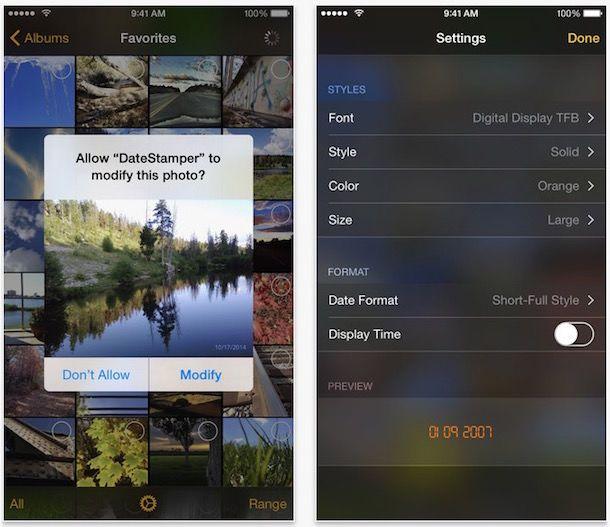 DateStamper - расширение для Фото iOS 8