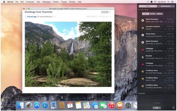 Почтовый виджет для Mac на Yosemite