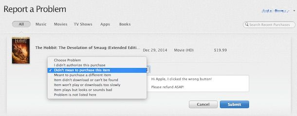 iTunes Report Problem web