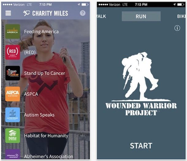Charity Miles - программа для бега на iPhone