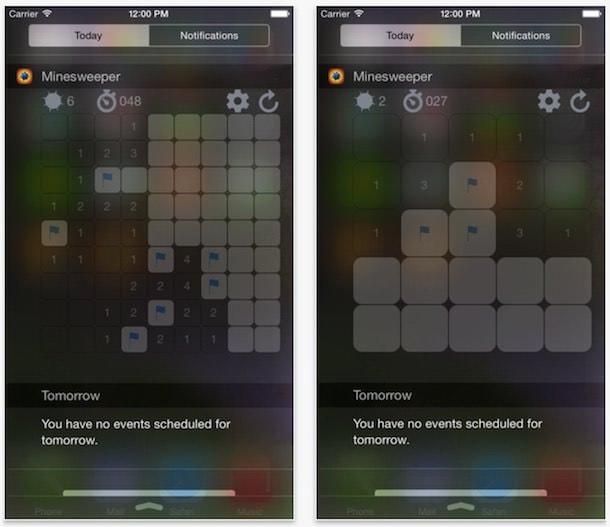 Minesweeper (Сапер) - игра-виджет для Центра уведомлений iOS