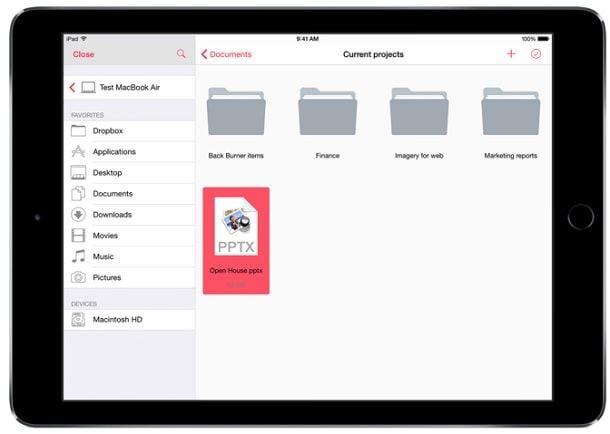 Parallels Access для iOS файловый менеджер