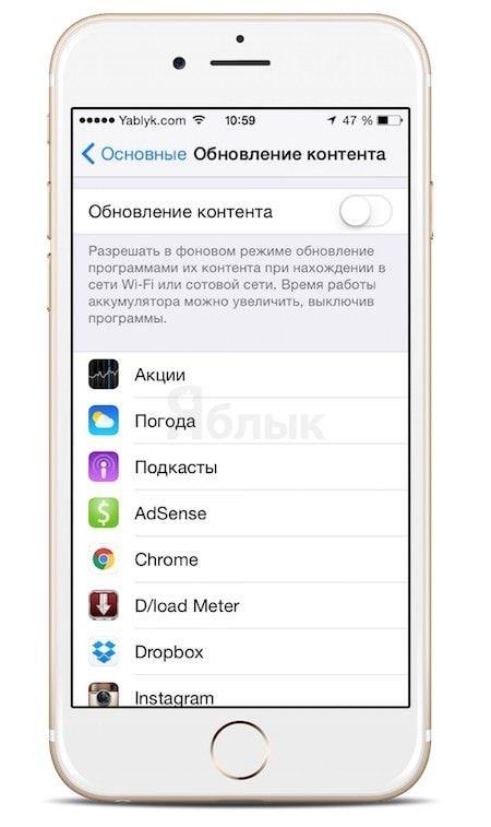 как отключить фоновые обновления на iPhone