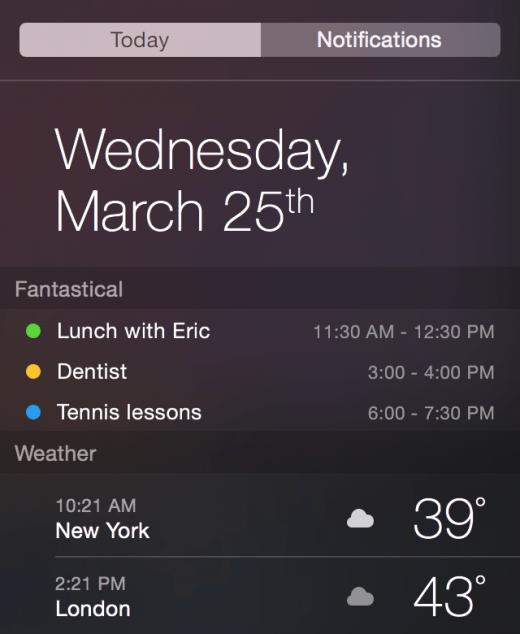 Fantastical 2, календарь, приложения для Mac