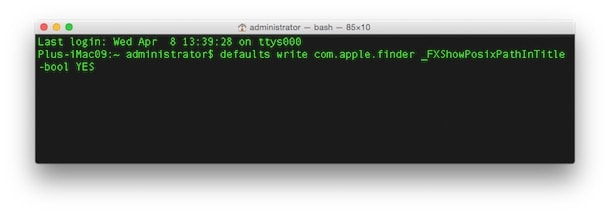 Как сделать, чтобы Finder писал в заголовке окна адрес открытой папки