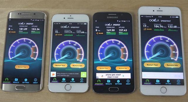 iPhone, Samsung, speed test