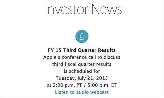 Apple, финансовый отчет, Q3 2015