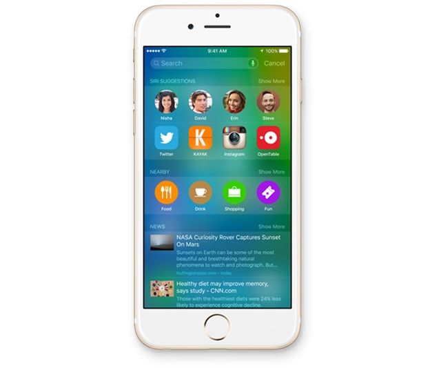 IOS 9, Android