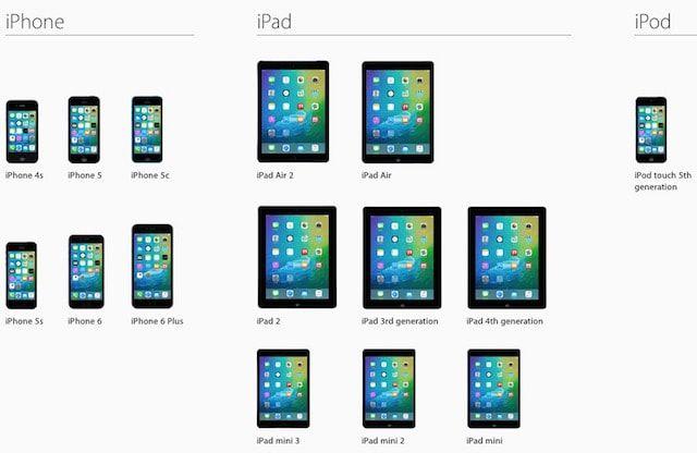 совместимость iOS устройств с iOS 9