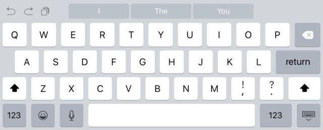 клавиатура iPad на iOS 9