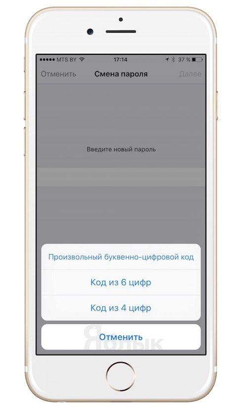 Пароль в iOS 9