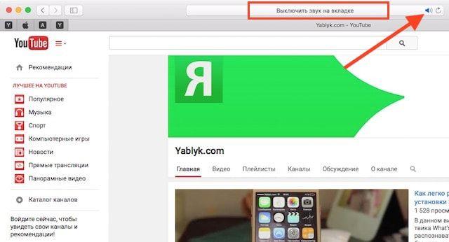 OS X El Capitan: Как отключить звук во вкладках Safari
