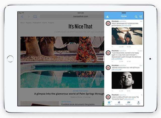 сплит многозадачность на iPad Air 2