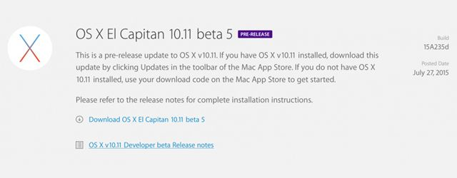 OS X El Capitan Beta 5, OS X 10.11