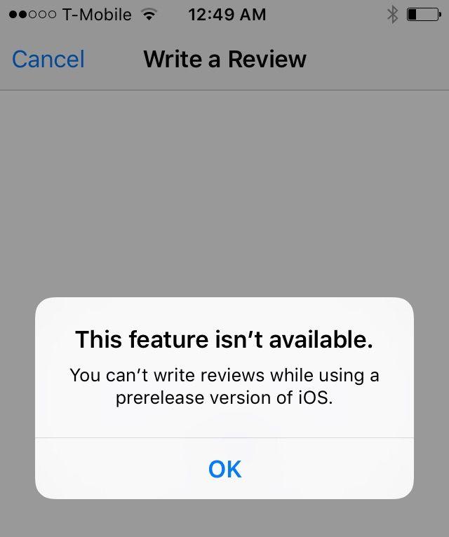 нельзя написать отзыв в App Store на iOS 9