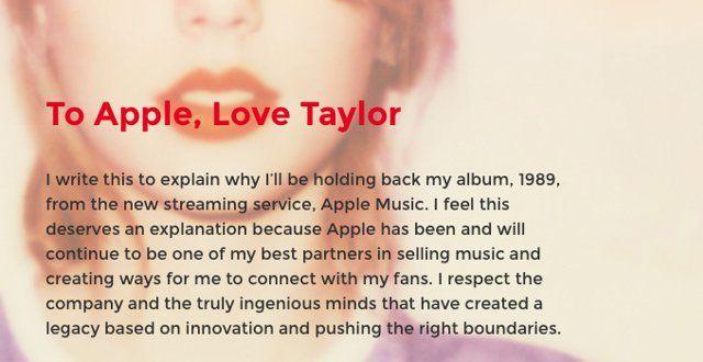 Тейлор Свфт, Apple Music, письмо