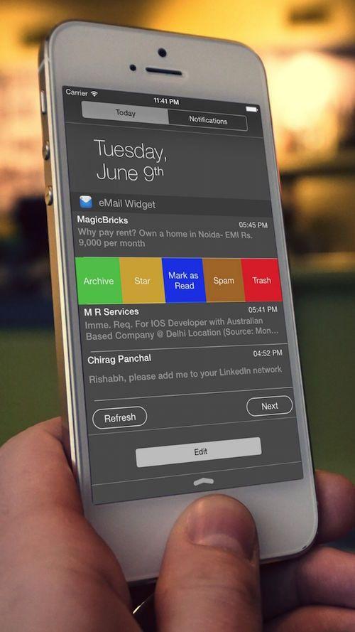 eMail Widget - управление электронной почтой из Центра уведомлений