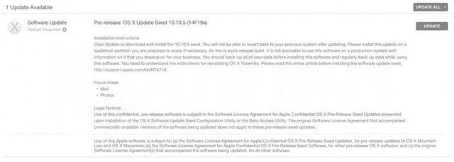 OS X Yosemite 10.10.5 beta 2