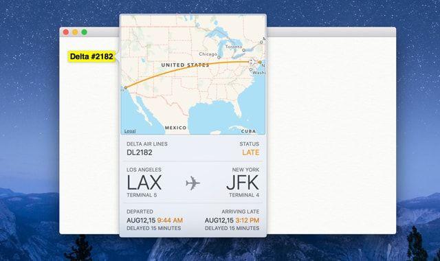 iOS 9, OS X El Capitan, отслеживание перелетов