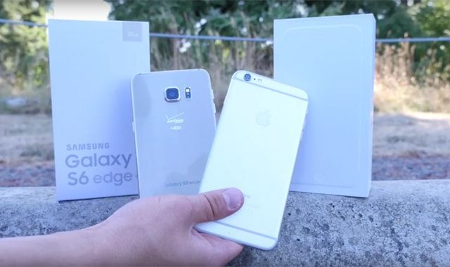 Galaxy S6 Edge+, iPhone 6 Plus, дроп-тест