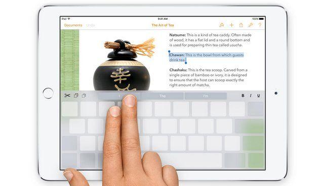 iPad, iOS 9, клавиатура