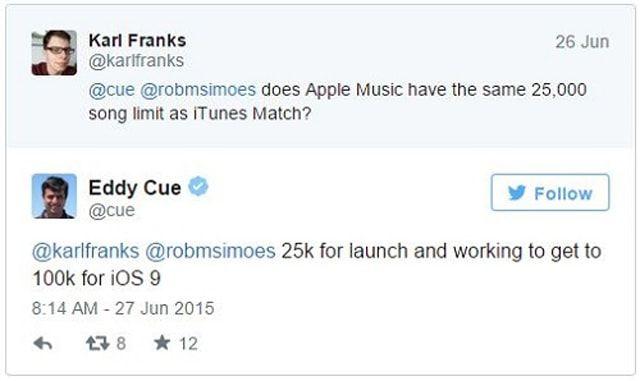 iTunes Match, 100 000 треков