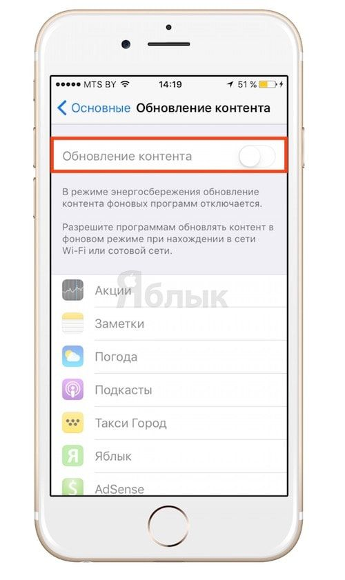 Отключение фонового обновления в iOS 9