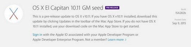 OS X El Capitan Golden Master
