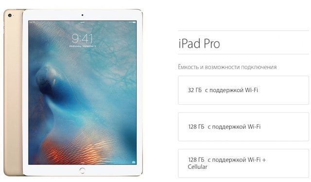 Модификации iPad Pro