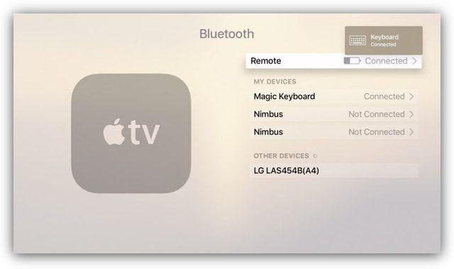 Apple TV 4g - поддержка bluetooth клавиатур