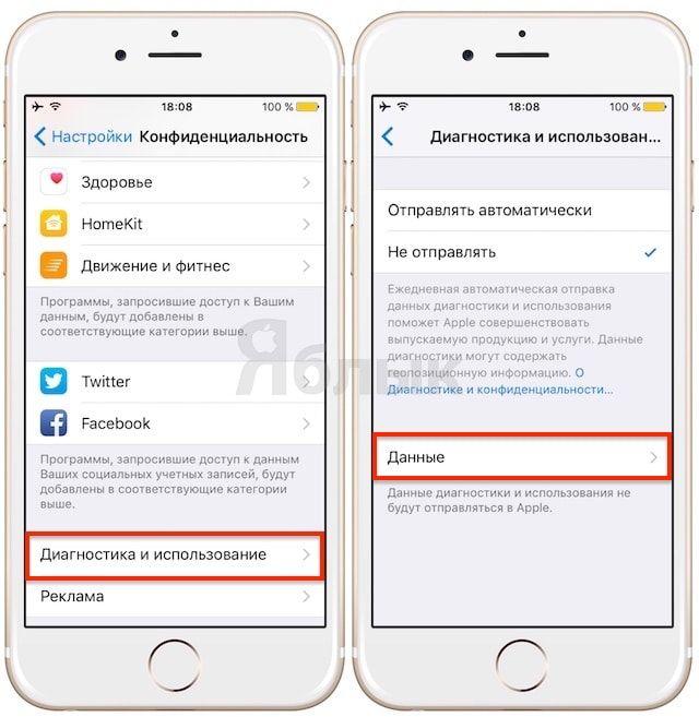 Какие данные собирают iPhone и iPad для отправки в Apple