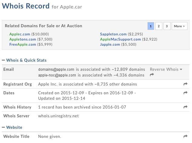 whois apple car