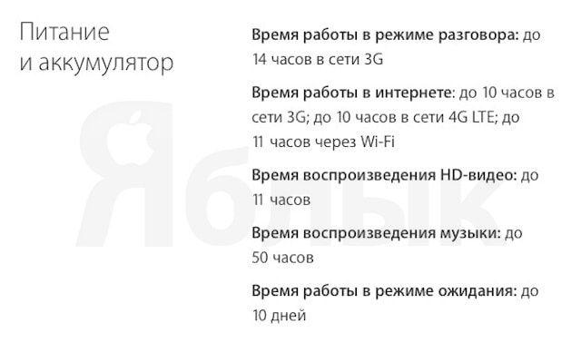Срок автономной работы аккумулятора iPhone SE