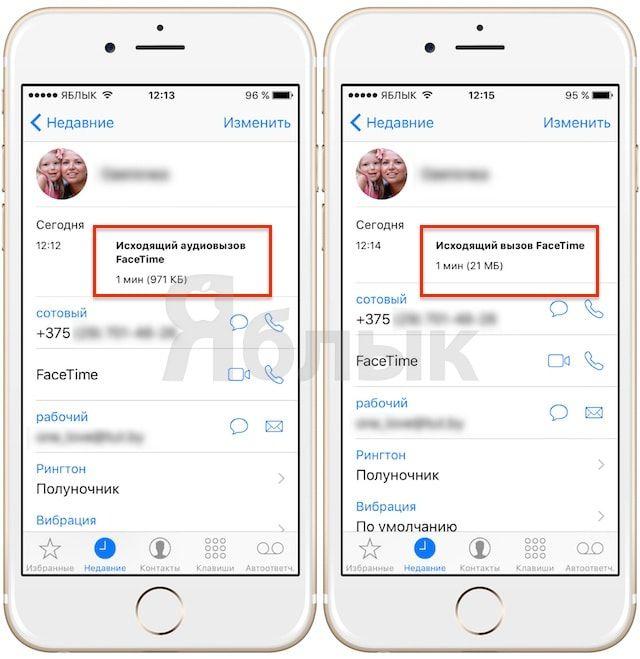 Как проверить объем потребляемого трафика при совершении аудио- или видеозвонка в FaceTime