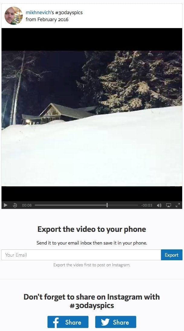 Как создать видео из Instagram-фото за минувший месяц