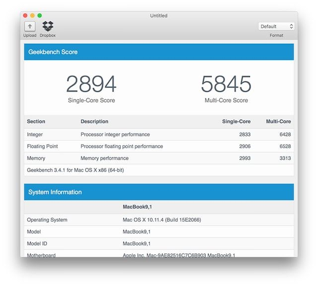 Geekbench 2016 12 inch MacBook