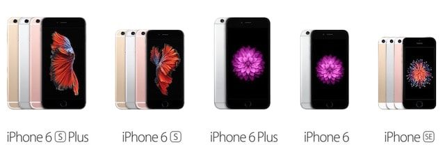 Подробное сравнение iPhone SE, iPhone 6, 6s, 6 Plus и 6s Plus