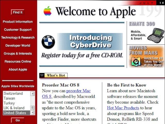Сайт Apple в 1998 году