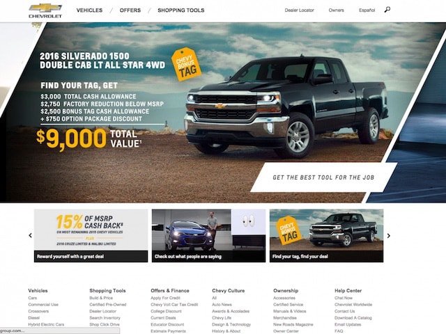 Сайт Chevrolet